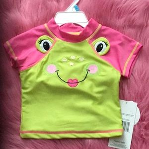 2pc pink and lime green bathing suit.